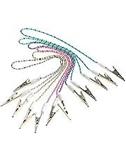 ROSENICE Dental Bib Clips Napkin Clips Chain 6pcs Dental Ball Chain Clips Flexible Napkin Holder (Random Color)