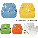 WTOR 4Pcs Cloth Diapers and 4Pcs Diaper Liners 6-Layers 100% Cotton Infant Adjustable Size Reuseable Washable Pocket Cloth Diaper for Baby
