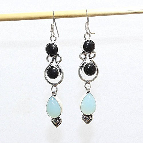 Sky Blue Chalcedony Black Onyx Earring Silver Overlay Fashion Jewellery Vintage Antique Designer Statement Jewelry Dangle Bohemian 2.90 Inch