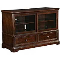 Office Star Bennington TV Console in Java Finish Solid Wood and Veneers with Glass Panel Doors