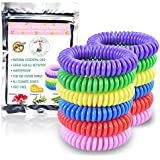 Mosquito Repellent Bracelets- 15 Pack - Stretchy bug insect bands for Adults & Kids - 100% Natural, Non-Toxic Ingredients (No Deet) - Waterproof & Long-Lasting for Bug-Free Camping, Hiking, Outdoors