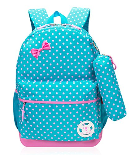 Polka Dots Print Girls School Bags for Kids Primary School Backpacks for Girls Bookbags (Medium, (School Dot)