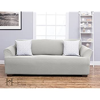 Cambria Collection Deluxe Strapless Slipcover. Form Fit, Slip Resistant, Stylish Furniture Shield / Protector Featuring Plush, Heavyweight Fabric. By Home Fashion Designs Brand. (Sofa, Ivory)