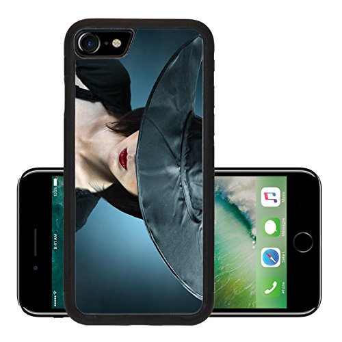 Luxlady Premium Apple iPhone 7 Aluminum Backplate Bumper Snap Case iPhone7 IMAGE ID: 34578837 Young woman in a witch costume her face covered with a hat