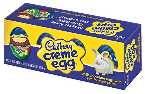CADBURY CRÈME EGG Candy, Milk Chocolate Filled with Soft Fondant Center, 4 Count 1.2 Ounce Egg (Pack of 4) -