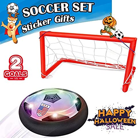 Kids Air Power Soccer Gate Set with Goal AMENON Boys Girls Sport Children Toys Training Football Indoor Outdoor Disk Hover Ball Game with LED Lights (Soccer Gate - Power Air Hockey