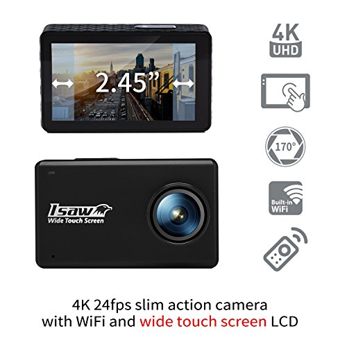 ISAW Touch wide touch screen sports action camera 4K 24fps 1080p 60fps (12MP Sony sensor) wide touch screen, various accessories, waterproof 30m + WiFi + Remote Controller by ISAW