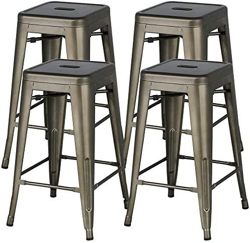 Yaheetech 24inch Metal Bar Stools Counter Height Barstools Set of 4 High Backless Industrial Stackable Metal Chairs Indoor Outdoor, Gun Metal