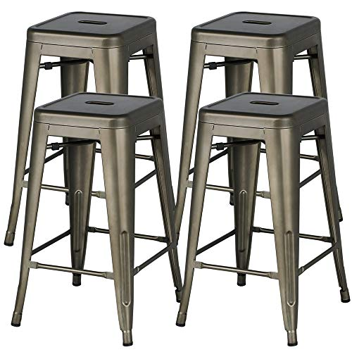 Yaheetech 24inch Metal Bar Stools Counter Height Barstools Set of 4 High Backless Industrial Stackable Metal Chairs Indoor/Outdoor, Gun Metal (Outdoor Bars)