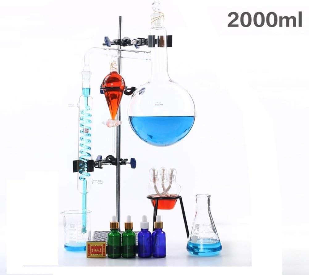 Sucastle 2000ml Lab Esencial Aparato de destilación de petróleo Distiller Purificador de Laboratorio cristalería Kits de Agua