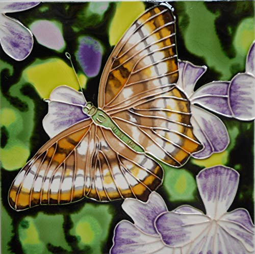Tile Craft Hand Painted Ceramic Art Butterfly Tile 8 x 8 inches with Easel Back
