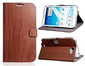 Wood Pattern Faux Leather Flip Case for Samsung Galaxy Note 2/ N7100 (Dark Brown)