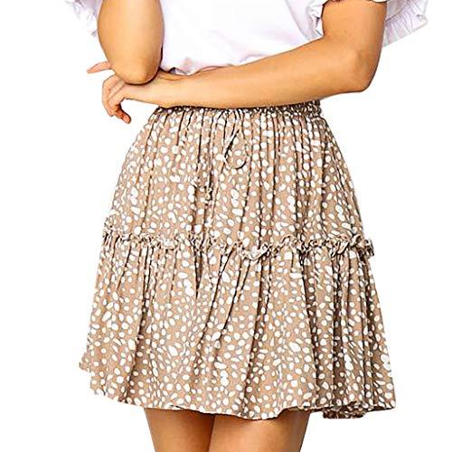 Fashion A-Line Pleated Lace Up Short Skirt Women Casual Polka Dot Print Ruffles Khaki