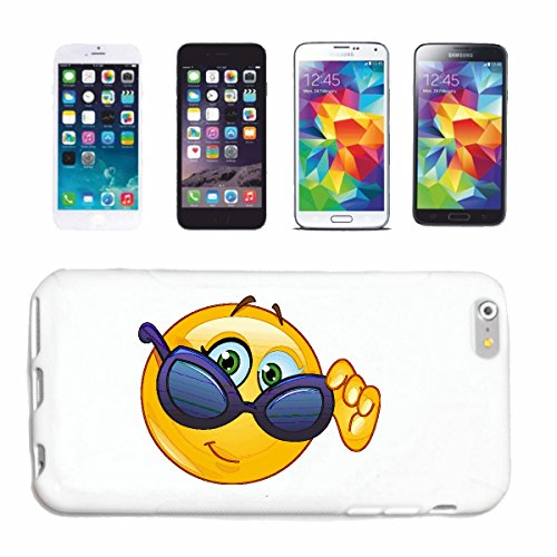 "cas de téléphone iPhone 4 / 4S ""SMILEY AVEC BIG LUNETTES ""sourire EMOTICON APP sa SMILEYS SMILIES ANDROID IPHONE EMOTICONS IOS"" Hard Case Cover Téléphone Covers Smart Cover pour Apple iPhone en blanc"