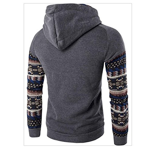 larga manga con con ZARU capucha Coat Tops los de Sudadera capucha de Chaqueta Outwear retro oscuro hombres Gris 8R0Ywgq