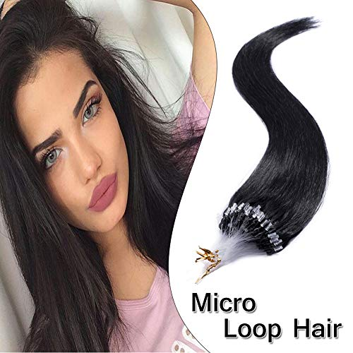 Micro Loop Ring Hair Extensions Nano Rings Human Hair Dark Black #1 Silky Straight 100 Strands 50g Micro Link Hairpieces 18 Inch