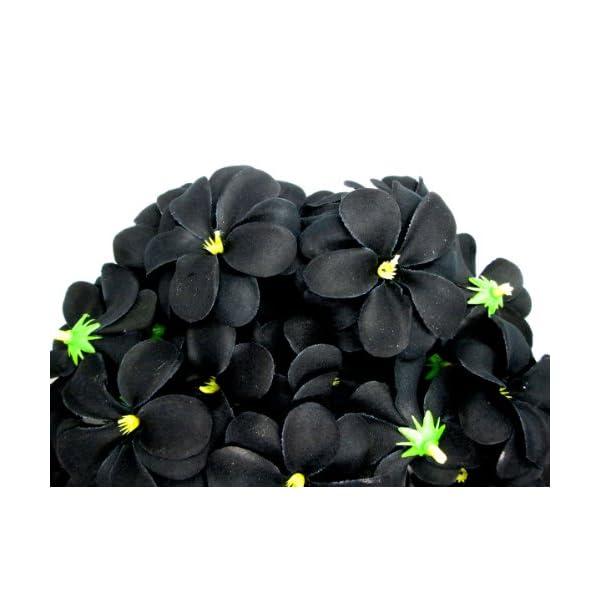 (100) Black Hawaiian Plumeria Frangipani Silk Flower Heads – 3″ – Artificial Flowers Head Fabric Floral Supplies Wholesale Lot for Wedding Flowers Accessories Make Bridal Hair Clips Headbands Dress