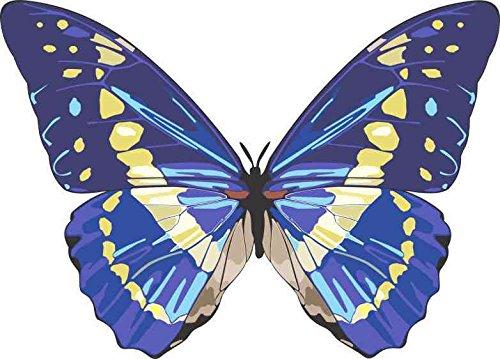 - 5in x 4in Blue Butterfly Bumper Sticker Car Vinyl Truck Window Decal Sign