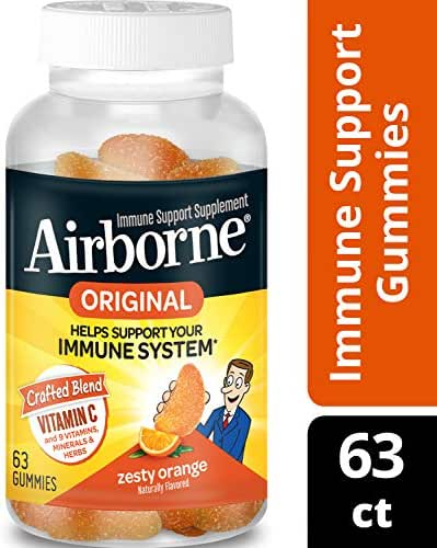 Airborne Zesty Orange Flavored Gummies, 63 Count - 750mg of Vitamin C and Minerals & Herbs Immune Support (Packaging May Vary) (Pack of 8)