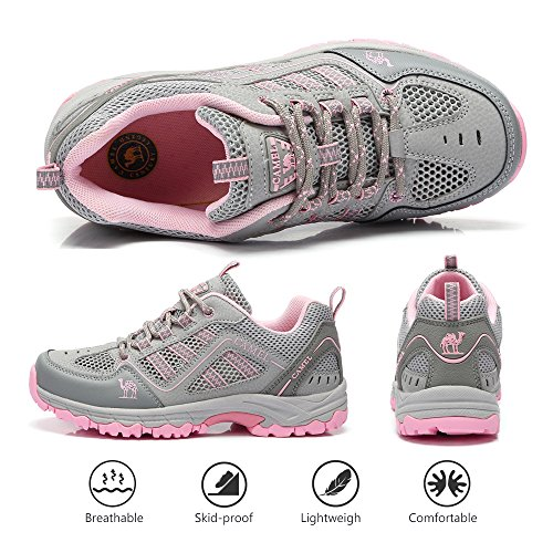 Men Outdoor Breathable Sneakers CROWN Lightweigh Grey Pink Shoes Light CAMEL Hiking Womens Walking 5qfYwxB