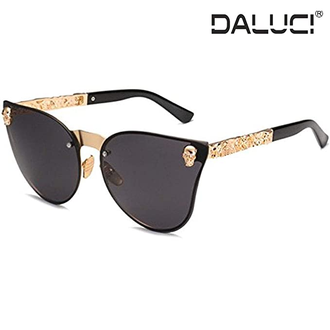 d3ac17029 Image Unavailable. Image not available for. Colour: DALUCI Sunglasses  Fashion Women Gothic Eyewear Skull Frame Metal Oculos de sol ...