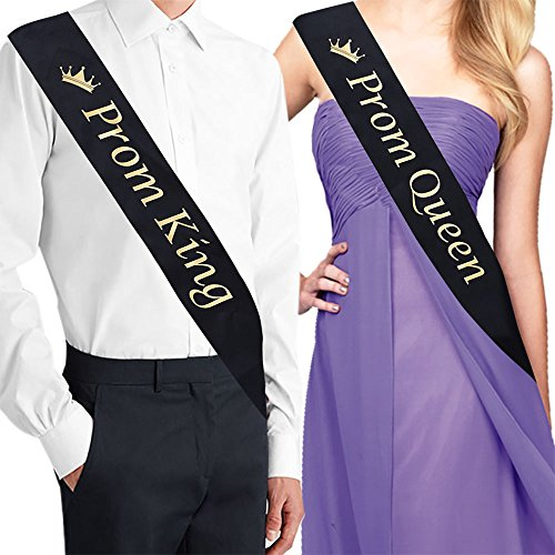 Prom King And Queen (ADBetty PROM KING Sash & PROM QUEEN Sash Kit - School Party Graduation Party Decorations)