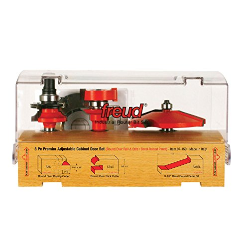 Freud 97-150 3 Piece Door Router Bit Set with Premier 99-760 Rail and Stile System and 99-515 Raised Panel Bit (Door Panel Router Bit Set compare prices)