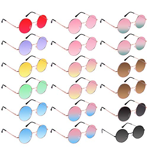 TUPARKA 18 Pairs Round Hippie Sunglasses 60s Style Retro Vintage Circle Sunglasses Colored Glasses for Costume Accessories -
