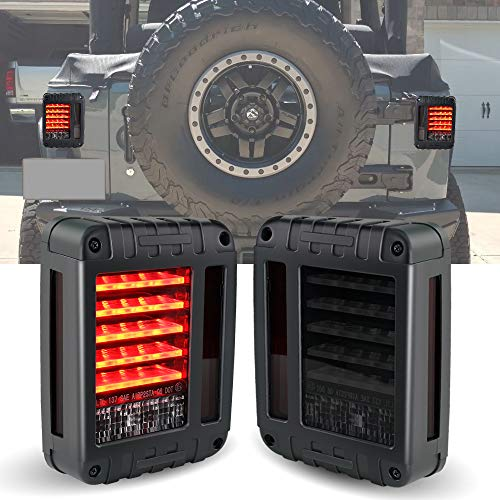 (KEENAXIS DOT Certified Defender Series Jeep Wrangler JK JKU Tail Lights, w/Turn Signal & Back Up Rear TailLights for 07-18 JEEP Wrangler, Smoke Lens Taillights)