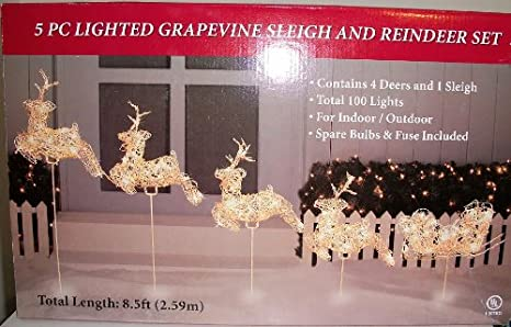 5 pc lighted grapevine sleigh reindeer set christmas decoration