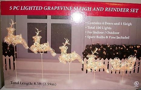 5 pc lighted grapevine sleigh reindeer set christmas decoration