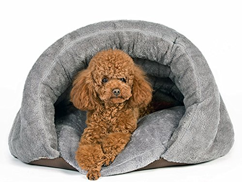 PLS Pet Cuddle Pouch Pet Bed (Medium), Bag, Covered Hooded Pet Bed, Cosy, For Burrower Cats and Puppies, Gray