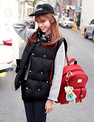 Rouge En Dos D'étudiant Capacité A Femmes Voyage Set Pcs Multifonctions Sac 2 Sacs Grande De Main Cuir Wanyang w6T8n