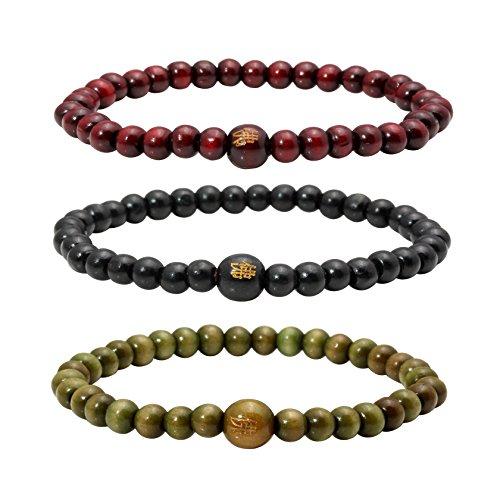 Elastic Big Bead Bracelet - MILAKOO 3 Pcs Wood Bead Bracelet Tibetan Buddhist Meditation Mala Prayer Beads Men Elastic Bracelet