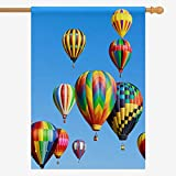 Cheap InterestPrint Decorative Flag Colorful Hot Air Balloons Over Blue Sky House Flag House Banner for Wishing Party Wedding Yard Oxford Cloth Home Decor 28″ x 40″ (Without Flagpole)