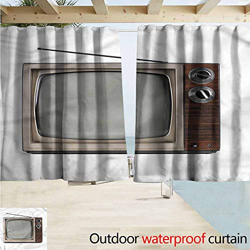 MaryMunger Window Curtains 1950s Old Television with Antenna Draft Blocking Draperies W55x45L Inches