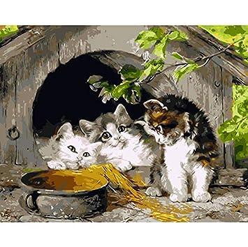 Cuadro sin marco en la pared Acrílico Pintura al óleo por números Tres gatos Dibujo abstracto por números Pintura única de regalo por números 40x50cm: ...