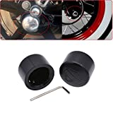 TUINCYN Black Motorcycle Front Axle Cover Cap Nut Motor Bike Aluminum Decoration Universal for Harley XL883 XL1200 X48 Softail Dyna V-Rod Touring Trike(1 Pair)