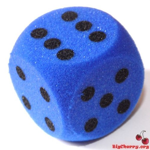 Big Cherry Giant Dice! One 7cm (70mm) Giant Foam Die, in Blue by BigCherry