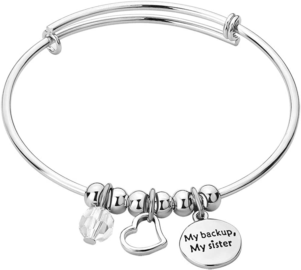 DemiJewelry Crystal Sister Expandable Inspirational Wire Bangle Bracelet Heart Charm Stackable Adjustable Bracelets