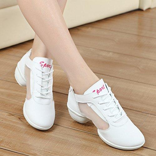 SQIAO-X- Scarpe da ballo Kraft fascetta in gomma antiusura traspirante imbottitura, Square Dance Dance Latina Professional scarpe da ballo, bianco filato netto,35