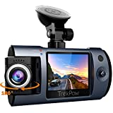 "Dash Cam, TrekPow Full HD 1080P Car DVR Dashboard Camera Recorder with 180°Rotation for Front/Cabin, 170°Wide Len, Night Vision, 2"" LCD, G-Sensor Lock, Loop Recording, Motion Detection, Parking Mode"