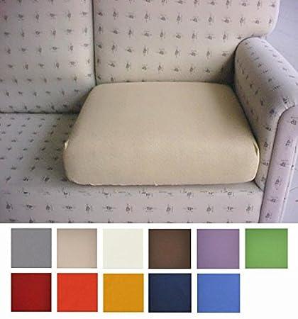 Casatessile Tela Antimanchas: un par de Fundas para Cojines de sillón y sofá Que se Pueden Extender de 50 a 75 cm - Panna