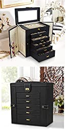 Kendal Huge Leather Jewelry Box / Case / Storage LJC-SHD5BK (black)