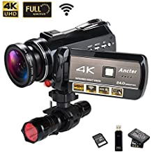 4K Wifi Full Spectrum Camcorders, Ultra HD Infrared Night Vision Paranormal Investigation Video Camera with 60fps 24MP 30X Digital Zoom - Ghost Hunting Camera (32GB SD Card Included)