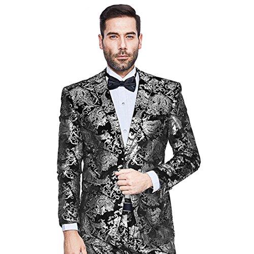 Mens Blazer Floral Dress Suit Jacket Party Tuxedos Slim Fit Luxury Notched...