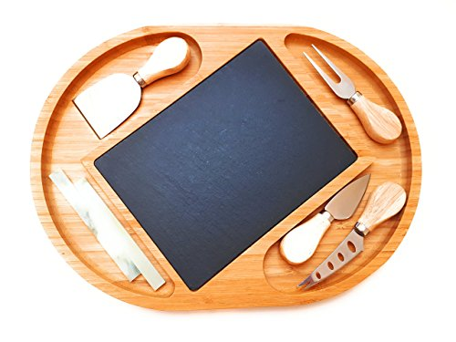 Bamboo Cheese Board with Cutlery Set,Slate,Chalks.Serving Platter,Tray,4 Stainless Steel Knives and Server.Wood Plate for Cracker,Meat,Fruits,Wine,Charcuterie.Serving Board Set by Landeluxe