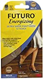 Futuro Energizing Ultra Sheer Pantyhose for Women, Eases Symptoms of Mild Varicose Veins, Brief Cut, Large, Nude, Mild Compression