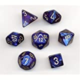 Chessex Polyhedral 7-Die Scarab Dice Set - Royal Blue with Gold CHX 27427