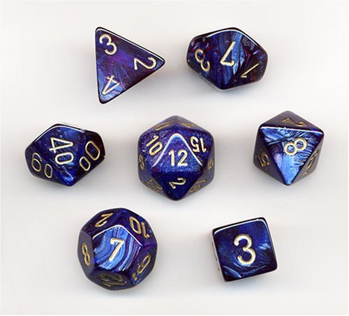 Polyhedral 7-Die Scarab Chessex Dice Set - Royal Blue with Gold CHX 27427 - Chessex Rpg Dice Sets
